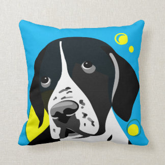 Dog Lover Home Decor Black and White Pointer Throw Pillow