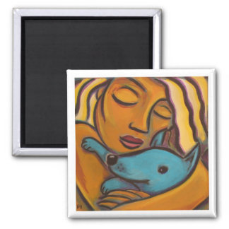 Dog lover 2 inch square magnet