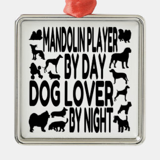 Dog Lover Mandolin Player Metal Ornament