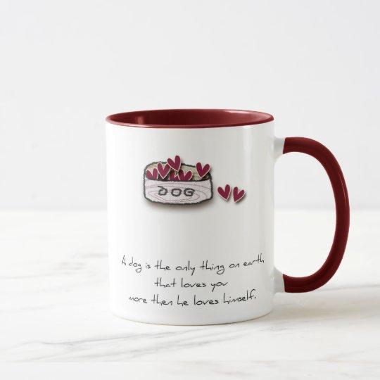 dog lover mug with doodle dog bowl and saying.