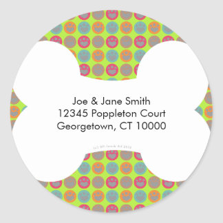 Dog Lover Multi-color Paw Print Address Labels Classic Round Sticker