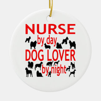 Dog Lover Nurse in Red Ceramic Ornament