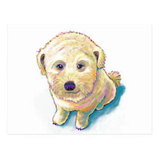Dog lover painting original art whoodle wheaten postcard