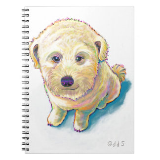 Dog lover painting original art whoodle wheaten spiral notebook