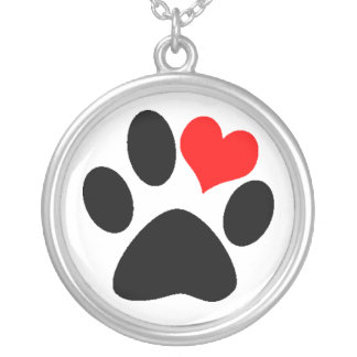 Dog Lover Paw Print Round Pendant Necklace