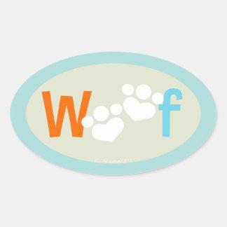 Dog Lover Paw Print WOOF Oval Sticker