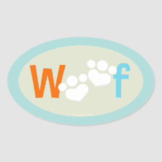 Dog Lover Paw Print WOOF Oval Stickers