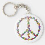 Dog Lover Peace Basic Round Button Keychain