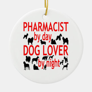 Dog Lover Pharmacist in Red Ceramic Ornament