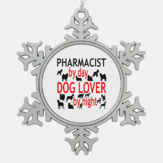 Dog Lover Pharmacist in Red Snowflake Pewter Christmas Ornament
