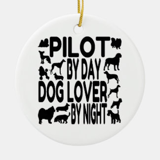 Dog Lover Pilot Double-Sided Ceramic Round Christmas Ornament