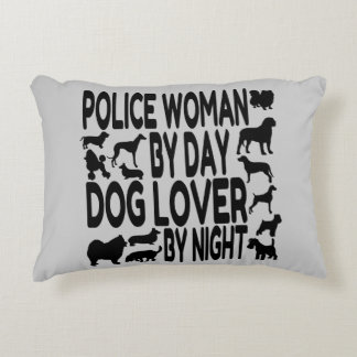 Dog Lover Police Woman Accent Pillow