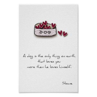 dog lover print with doodle dog bowl and saying.