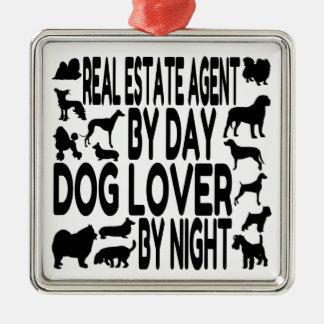 Dog Lover Real Estate Agent Square Metal Christmas Ornament