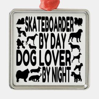 Dog Lover Skateboarder Christmas Tree Ornaments