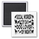 Dog Lover Social Worker 2 Inch Square Magnet