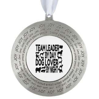 Dog Lover Team Leader Round Pewter Ornament