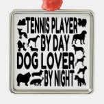Dog Lover Tennis Player Square Metal Christmas Ornament