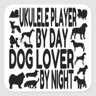Dog Lover Ukulele Player Square Sticker