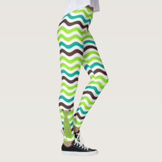 Dog Lover Wavy Chevron with Cartoon Pups Leggings