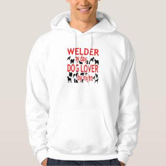 Dog Lover Welder in Red Hooded Pullover