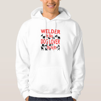 Dog Lover Welder in Red Hoodie