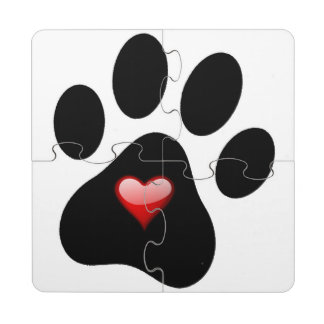 Dog Lovers Coaster Puzzle - Pet Paw Print Puzzle Coaster