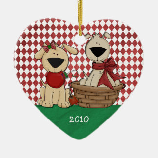Dog Lovers First Christmas Together Personalized Ceramic Ornament