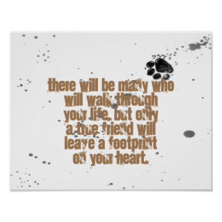 dog lovers quote poster paw print design