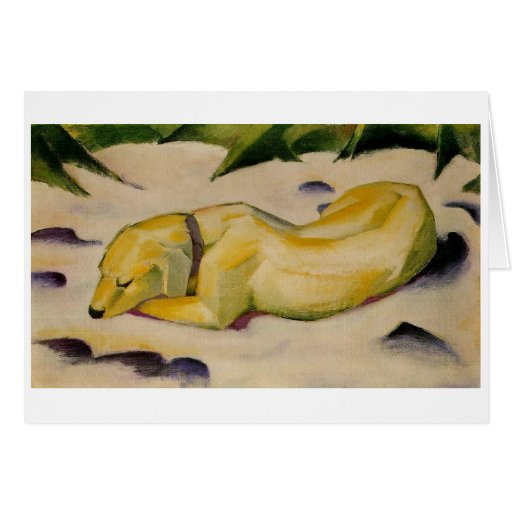 Dog Lying in the Snow - Franz Marc Greeting Card