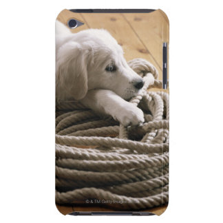 Dog lying with rope on wooden floor, elevated iPod touch case