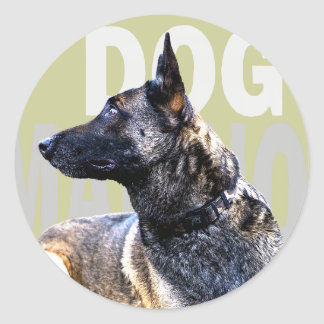 dog malinois clouded classic round sticker