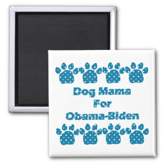Dog Mama For Obama Teal Dots Magnet