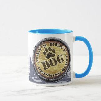 Dog Man's Drinking Buddy Ringer Mug