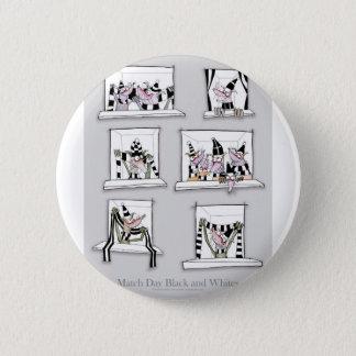 Dog match day black whites button
