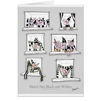 Dog match day black whites card
