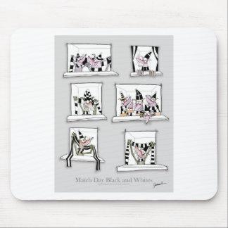 Dog match day black whites mouse pad