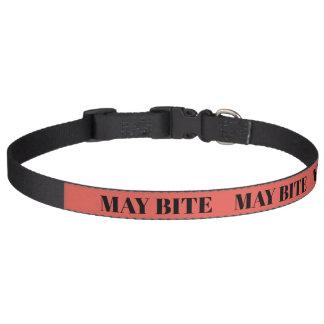 Dog MAY BITE, warning collar