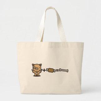 Dog + Meat = Bone Large Tote Bag