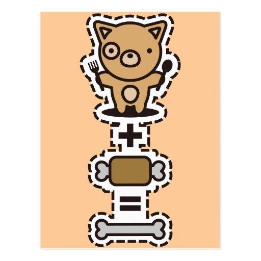 Dog + Meat = Bone Postcard