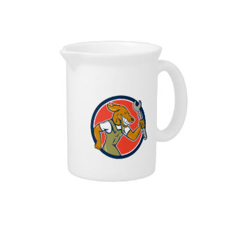Dog Mechanic Running With Spanner Circle Cartoon Drink Pitchers