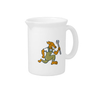Dog Mechanic Running With Spanner Isolated Cartoon Drink Pitchers