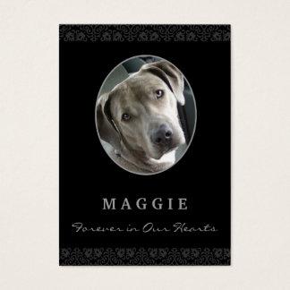 Dog Memorial Card - Black Photo Oval Frame