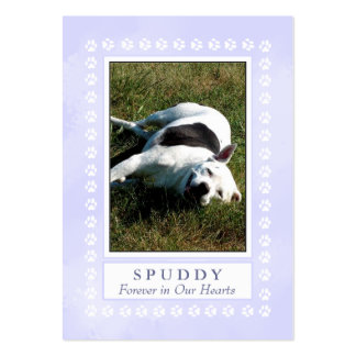 Dog Memorial Card - Heavenly Blue with Paw Prints Large Business Cards (Pack Of 100)
