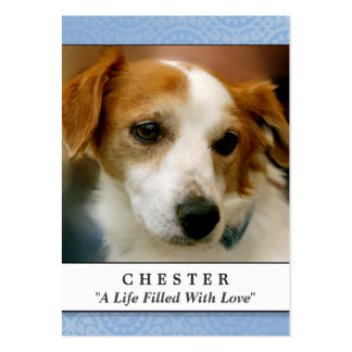 Dog Memorial Card Light Blue Don't Grieve Poem Large Business Cards (Pack Of 100)