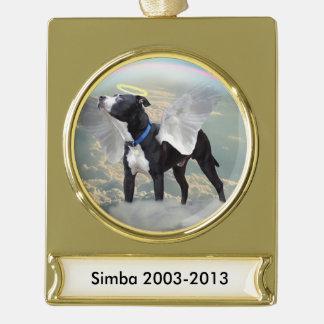 Dog Memorial Custom Banner Ornament - Gold Plated