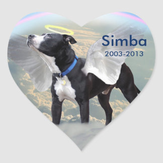 Dog Memorial Custom Heart Stickers, Glossy Heart Sticker