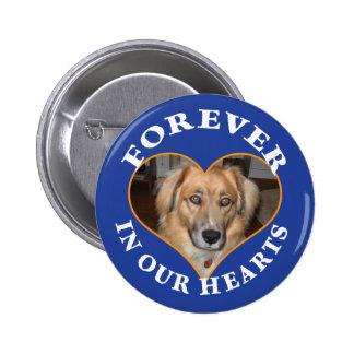 Dog Memorial custom photo in heart frame Pinback Button