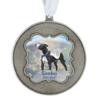 Dog Memorial Custom Scalloped Ornament