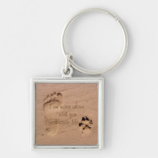 Dog Memorial Footprints in Sand Personalized Keychain